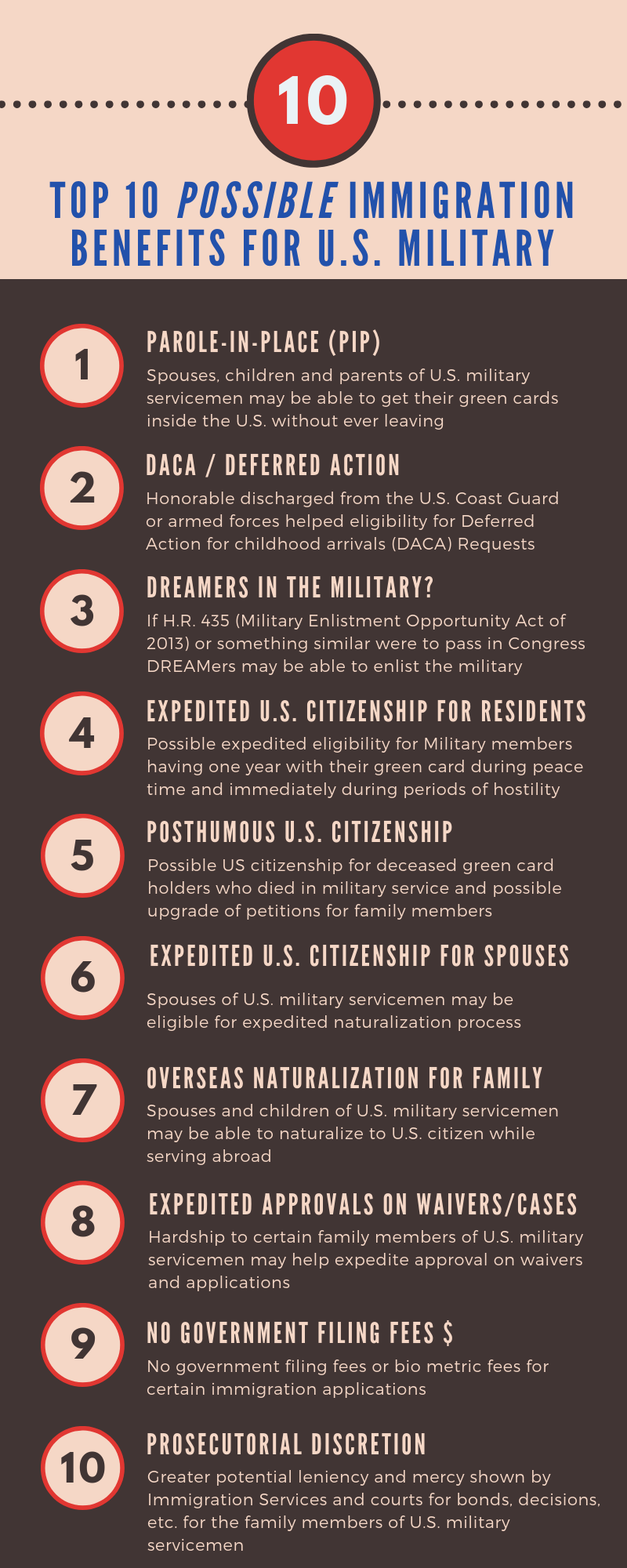 Top 10 Possible immigration benefits for u.s. military