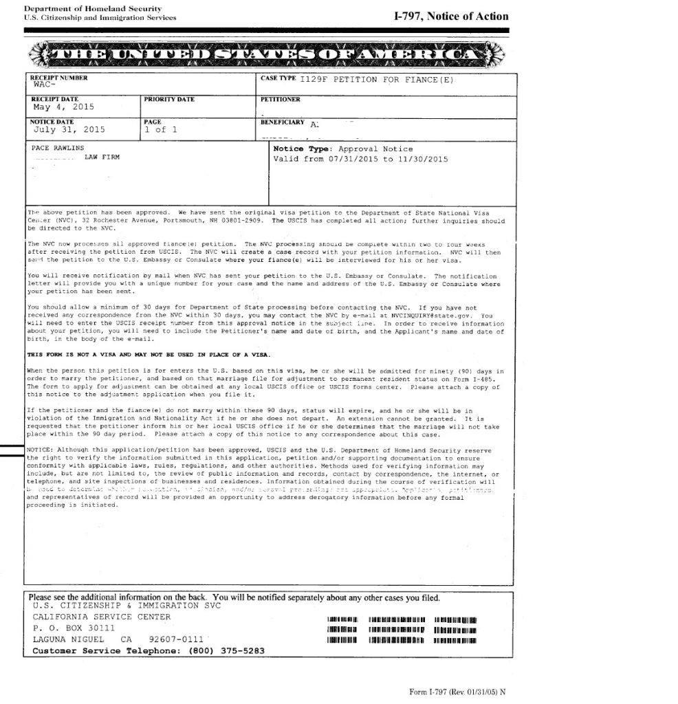 I-129f Fiancee Visa, 04-31-15