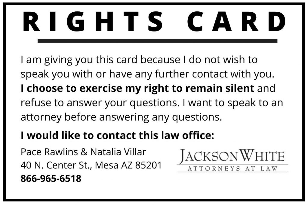 rights card for immigrants